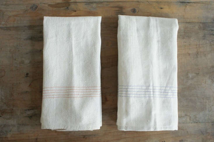 Vintage Linen Tea Towel Napkins with Blue and Red Stripe, Remodelista