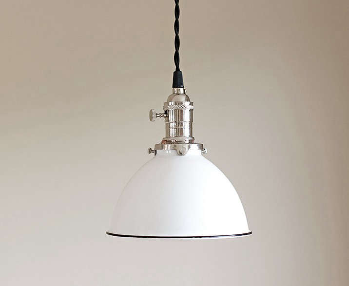 Pendant Light Fixture White Vintage Industrial Porcelain
