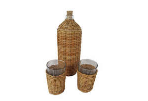 Wicker Bottle and Glasses, Remodelista