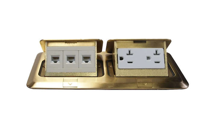 Above: The Pop Up Orbit Brass Industrial Floor Box Pop Up With Duplex  Receptacle And RJ45 (for Phone And Ethernet Cable) Is $149.50 From Alcon  Lighting ...