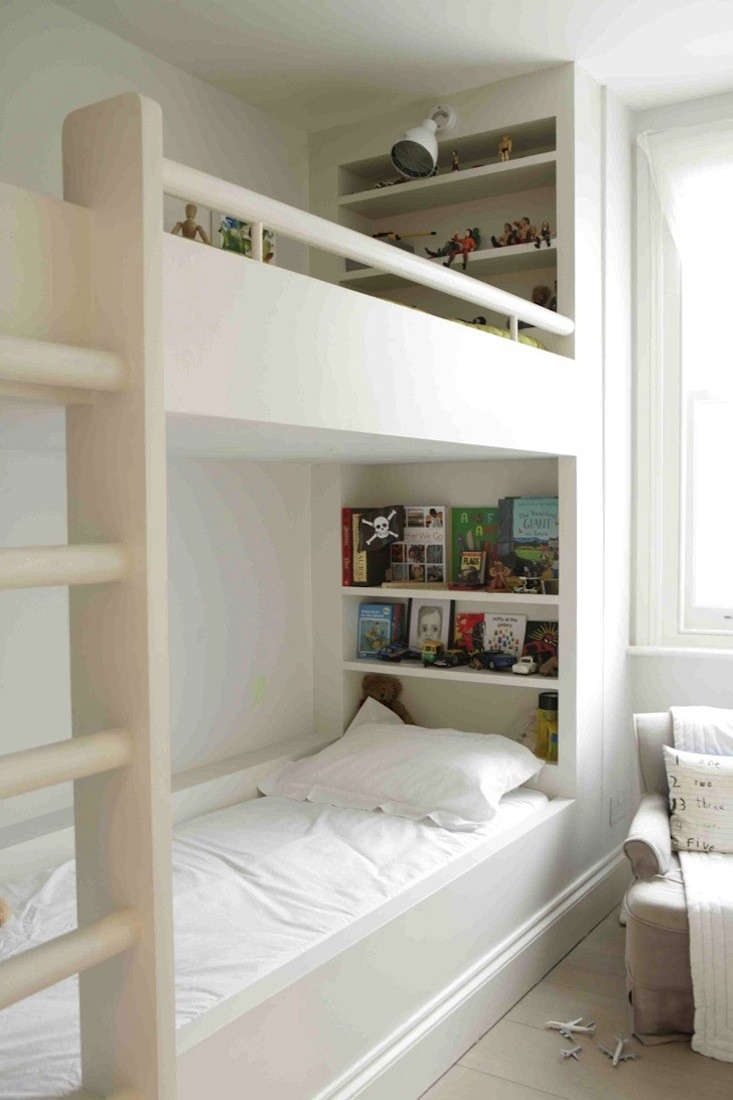 Above: Bunk beds with built-in shelves in the London home of Anita ...
