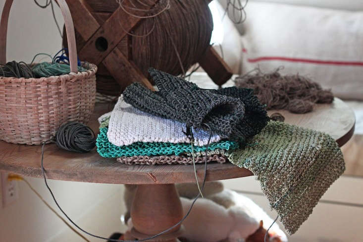 beach twine knits by Marnie Campbell, photo by Justine Hand, basket and finished hot pads