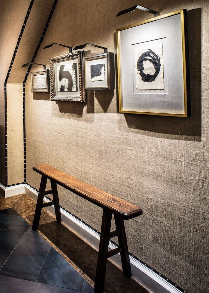 burlap-wall-with-art