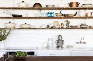 Food 52 test kitchen with open shelves - Remodelista