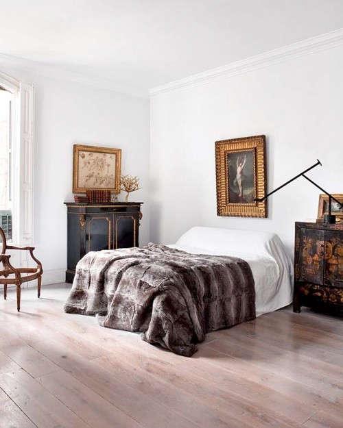 fur-bedspread-gold-mirror-remodelista
