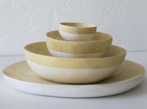 Honore Natural and White Wood Plates from Lost & Found in LA | Remodelista