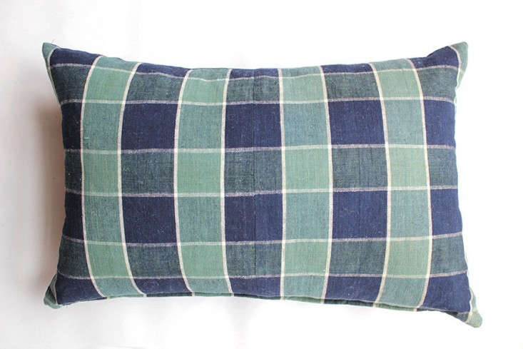 japanese-green-plaid-pillow-nickey-kehoe-remodelista