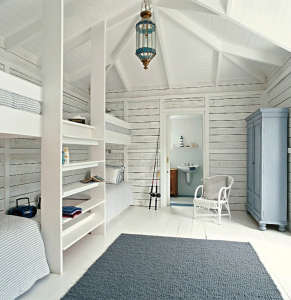 White Wood Built-In Bunk Beds via Scandinavian Retreat | Remodelista