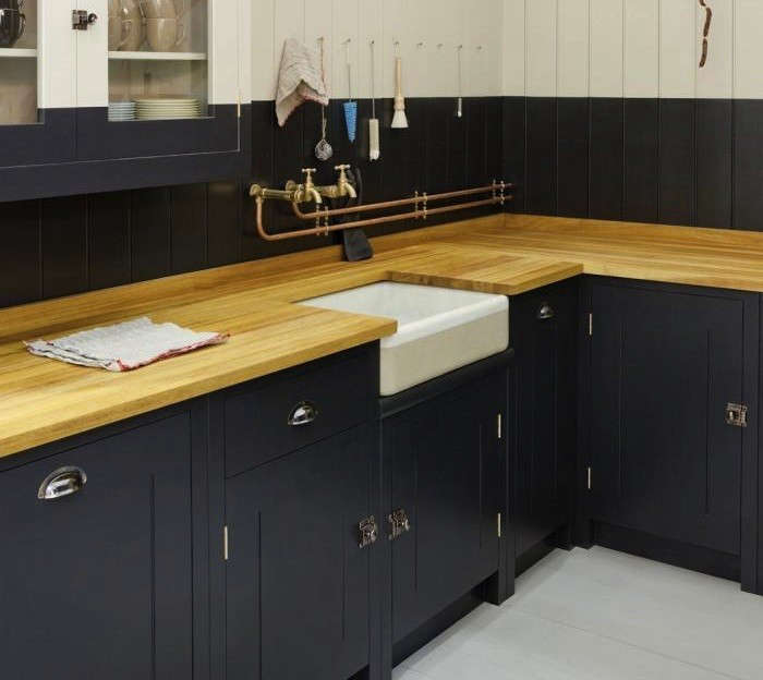 Black Kitchen Cabinets With Butcher Block Countertops