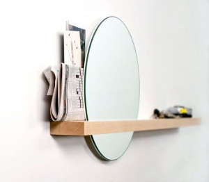 Round Hall Mirror with Shelf/Remodelista