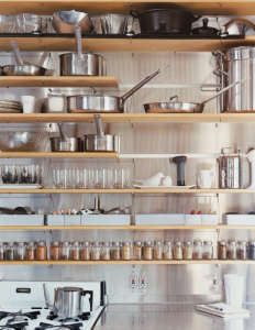 Stainless Backsplash Wood Shelving/Remodelista