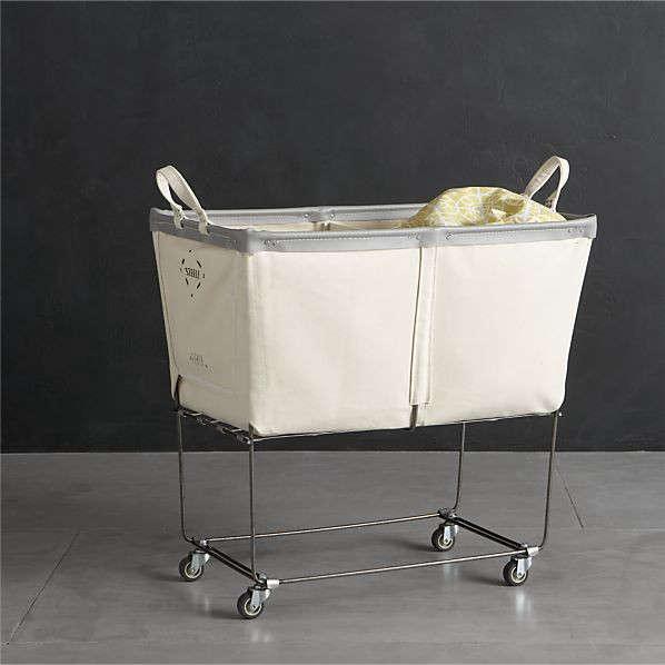 Steele divided canvas sorter remodelista - Divided laundry hampers ...