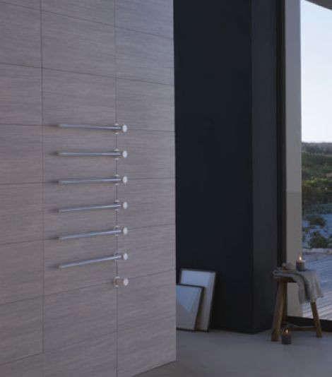 Braddan Stainless Steel Modern Towel Warmer Heated Towel: Vola Stainless Steel Built-In Heated Towel Warmer: Remodelista