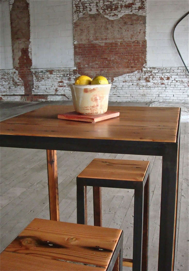 utilitarian-workshop-kansas-city-douglas-fir-and-steel-cafe-table-and stools-via-Remodelista