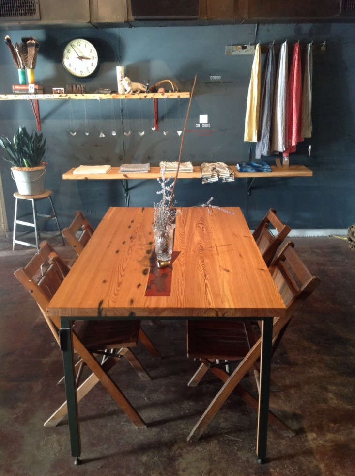 utilitarian-workshop-kansas-city-reclaimed-heart-pine-and-steel-table-via-Remodelista