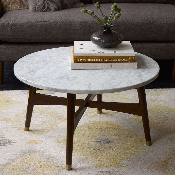 High/Low: Marble-Topped Coffee Tables - Reeve Mid-Century Coffee Table - Marble