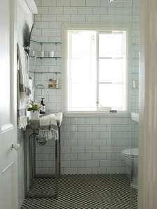 White Tiled Bath Steel Sink Base/Remodelista