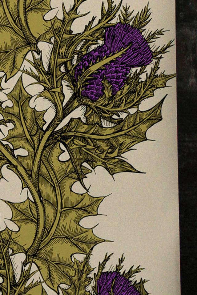 Grand thistle hand print wallpaper remodelista for Botanical tattoo london