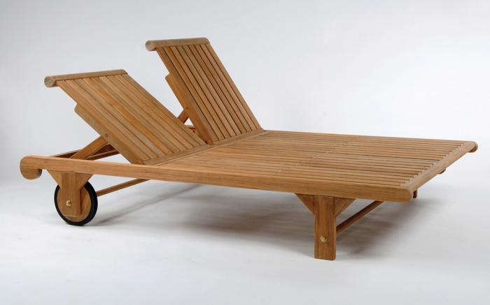 Atlantic Teak Double Patio Chaise Lounge Remodelista