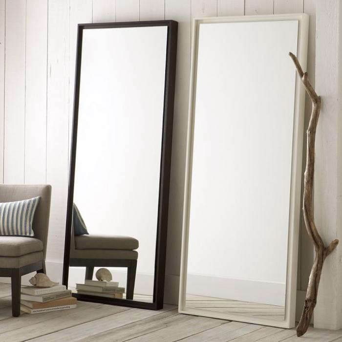 floating wood floor mirror remodelista. Black Bedroom Furniture Sets. Home Design Ideas