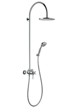 above hansgrohe axor terrano showerpipe with 10inch shower head valve and hand spray at efaucets