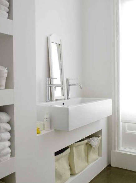Original KM Decor DIY Organizing Open Shelving In A Bathroom
