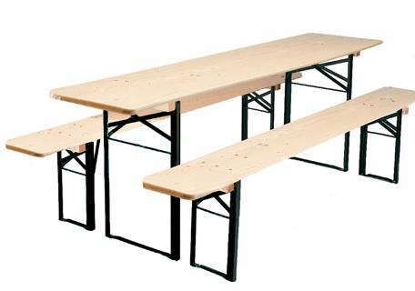 Folding Wood Table and Bench Set