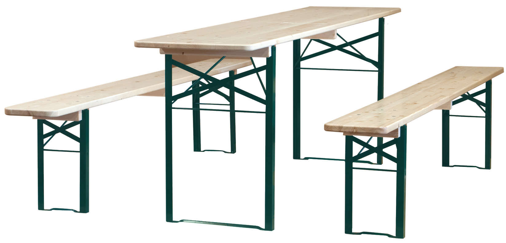 Biergarten Folding Wood Table and Bench Sets Remodelista