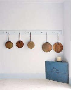 Copper pots as kitchen decor