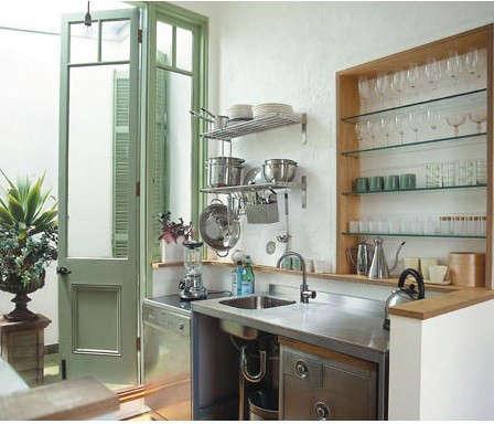 green-steel-kitchen-doorway