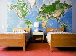 Environmental graphics world map wall mural remodelista for Environmental graphics wall mural