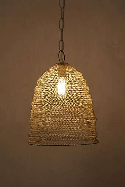 Mesh Beehive Pendant Lighting, Gold Mesh Lamp Shade
