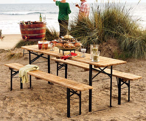 Outdoors European Biergarten Table And Bench Set Remodelista