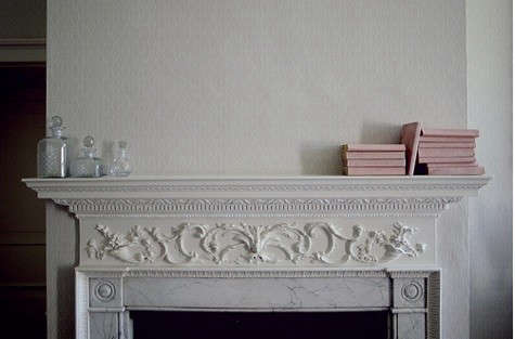 pink-books-on-mantel