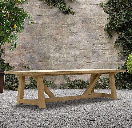 Provence beam rectangular dining table remodelista for Restoration hardware outdoor dining