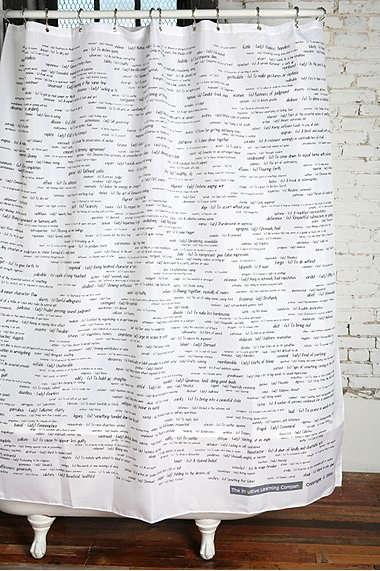 Sat Words Shower Curtain Remodelista