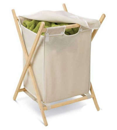 Classic folding wood frame laundry hamper remodelista - Wooden hampers for laundry ...