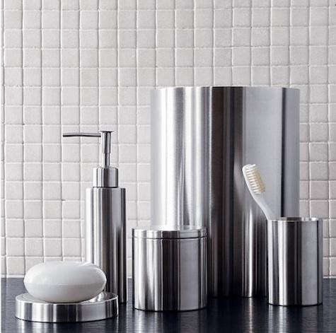 bath stainless steel bath accessories from cb2 remodelista. Black Bedroom Furniture Sets. Home Design Ideas