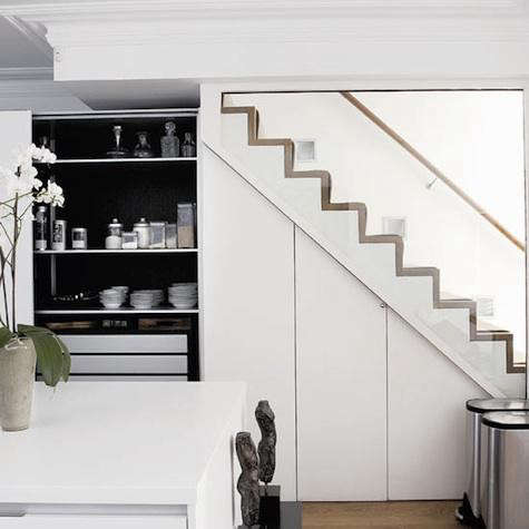 house gardens kitchen under stairs
