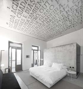 casa do conto, text on ceiling, concrete art, porto hotel