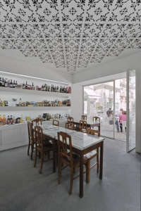 Fugas Lusas, extrastudio, Portuguese delicacies, cafe, white ceiling, laser cut pattern