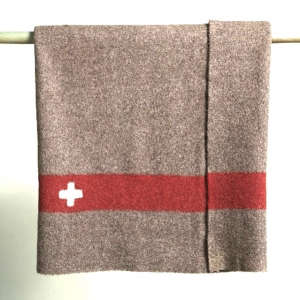 Vintage Swiss Army blanket in brown and red