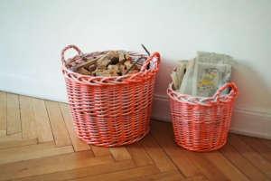 DIY pink-painted storage baskets