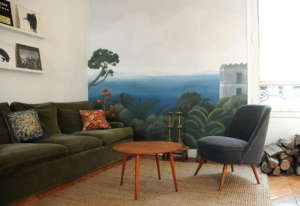 Midcentury furniture and wall artwork