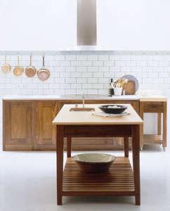 Copper pots in a Shaker kitchen