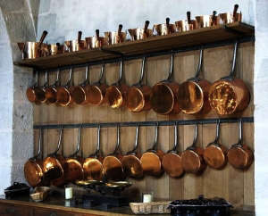 Copper pots and pans at the Chateau Vaux le Vicomte in Maincy, France