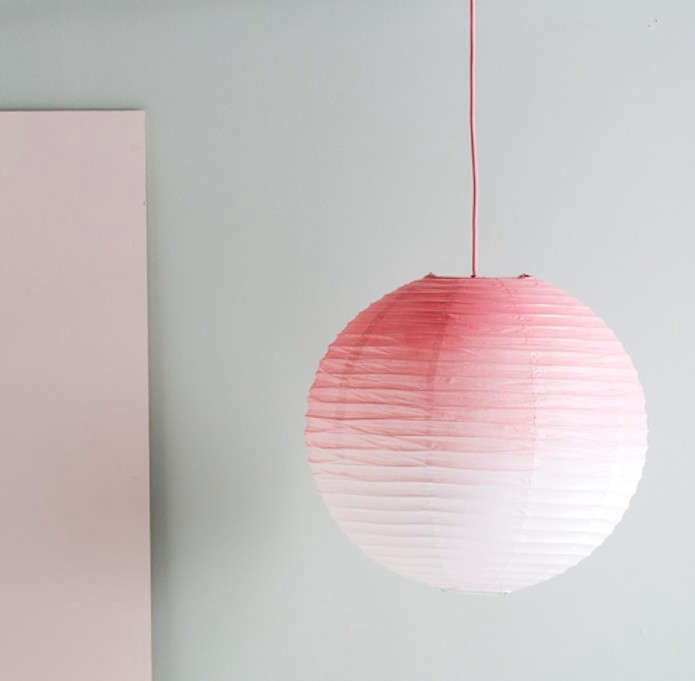 diy ombre pink paper lamp shade remodelista. Black Bedroom Furniture Sets. Home Design Ideas
