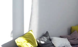 Yellow and grey linen pillows from Merci