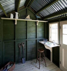 Garden shed, garden studio, reading room, green stained wood, douglas fir stain