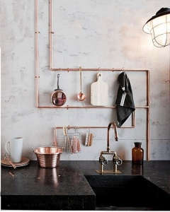 Copper Pipes as Storage Rack in the Kitchen, Remodelista